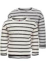 Long Sleeve Crew Neck Striped Cotton Blend Girls' T-Shirts & Tops (2-16 Years)