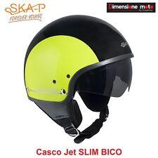 Casco JET Con Visiera Scomparsa SKA-P SLIM BICO Nero/Giallo Metal Taglia L 58 cm