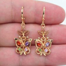 18K Yellow Gold Filled Rainbow Topaz Women Butterfly Dangle Earrings Jewelry