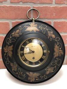 Vintage Metal Eight Day Wall Clock Floral GERMANY