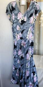 """Hawaiian MuuMuu   Medium   Gray Pink """"Kaua'iana Petite"""" Long Hawaii MuMu Dress"""