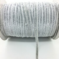 New 5 yds 6mm Silver Glitter Velvet Ribbon Vintage Headband Clips Bow Decoration