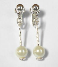 PRETTY WHITE GLASS PEARL & SILVERY CLIP ON EARRINGS - (Hooks Options)