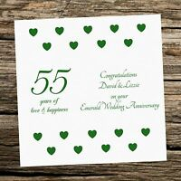 Personalised 55th EMERALD Wedding Anniversary Print Parents Diamante Crystal