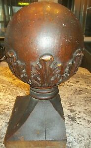 1800's Antique NEWEL POST Stairwa Finial VICTORIAN Style Oak ORNATE HAND CARVED