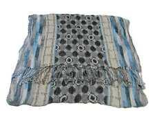 Sciarpa pashmina uomo donna multicolor blu beige nero plisse geometrico scritte
