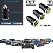 3Piece Dual USB 2.1A/1A 3PCS Fast Charger BLACK  2-Port Design - Plastic casing