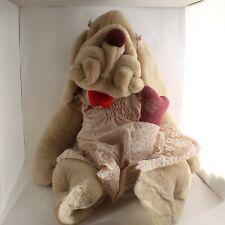 """Ganz Tan Wrinkles Girl Dog Puppet Dress Bows Panties Bone Plush Huge 30"""""""