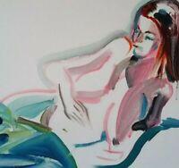 ORIGINAL Öl Gemälde oil painting female Naked nude nue Expressionism Aktzeichen