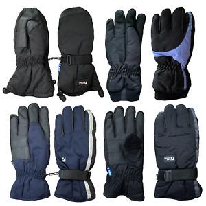 Trekmates Gloves Mittens Mens Gore Tex Ski 5 Finger Half Pipe Blue Grey Leather