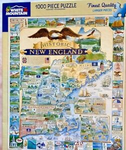 """""""Historic New England"""" Map 1000pc Puzzle 24x30 RI Maine MA Vermont NH Connecticu"""