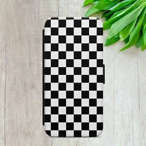 CHECKERED PATTERN GINGHAM FLIP WALLET PHONE CASE COVER FOR IPHONE SAMSUNG HUAWEI