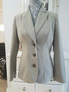 Autonomy grey tailored jacket blazer size 8 wooden buttons classic style work