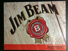 Jim Beam Whiskey Logo Label TIN SIGN Vtg Home Bar Wall Decor Pub Art Deco