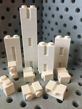 Lego 1x2 White Bricks Modified With Groove Profile Wall Brick 25 Pcs
