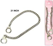 SILVER METAL FINGER HANDCUFF NECKLACE WITH 18 IN CHAIN new novelty jewelry cuffs