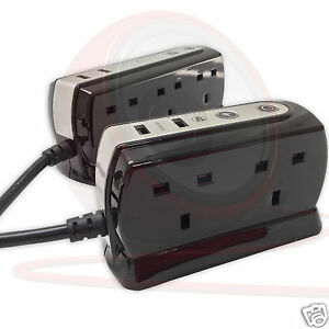 1m USB Surge Protector Office Studio Home Trailing Socket Extension Lead 4 6 Way