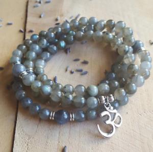 Labradorite Beaded Wrap Bracelet, Mala Beads Necklace Yoga Gemstone Om Grey