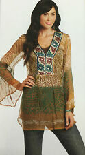 Womens Tunic Top M Green Ethnic Cultural Floral Geometric Long Sleeve Blouse