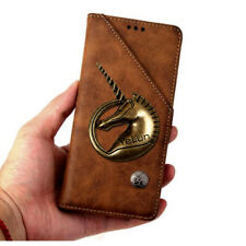 3D Unicorn Retro Flip Leather Card Wallet Cover Case For Samsung Galaxy