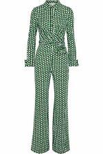 Diane von Furstenberg Michelle Silk Tie-Waist Silk Jumpsuit Size 0