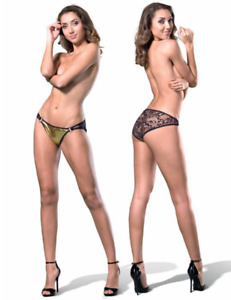 Scrumpies of Mayfair Size10 Honey Crunch Gold Tanga Briefs includes Charm RRP£55