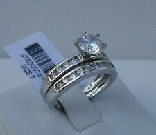 925 STERLING SILVER LADIES WEDDING RING & BAND SET /SZ 5-9 / W/ 3 CT DIAMONDS