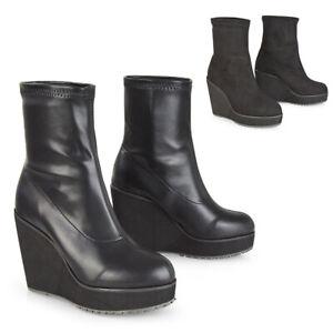 Womens Ankle Boots High Wedge Heels Ladies Stretchy Slip On Black Booties 3-8