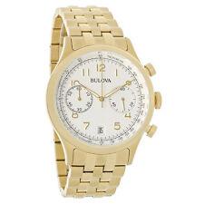 Bulova Chronograph Mens Silver Dial Swiss Gold Tone Dress Quartz Watch 97B149