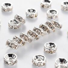 100 pcs Brass Rhinestone Beads Spacer Beads for Necklaces Bracelets Making 6mm