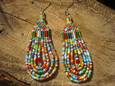 colorful beadwork long dangle chandelier boho fringe earrings