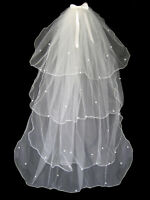"4 TIER IVORY BRIDAL WEDDING VEIL WITH PEARLS & COMB & BOW 50"" BRAND NEW"
