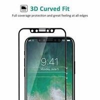 For Apple iPhone X BLACK 3D Curved Full Cover Tempered Glass Screen Protector HQ