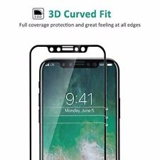 For Apple iPhone X BLACK 3D Curved Full Cover Tempered Glass Screen Protector UK
