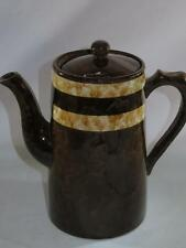 Vintage Retro Earthenware Coffee Pot High Gloss Two Tone Brown