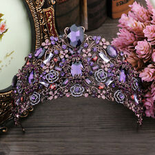 9cm High Luxury Large Purple Crystal Tiara Wedding Party Pageant Prom Crown
