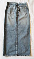 Calvin Klein Urban BoHo Hippie CHIC Long Blue Denim Jean Front Slit Skirt 3