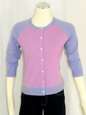 Geneva S Small Cashmere Cardigan Sweater Pink Purple Button Front Color Block