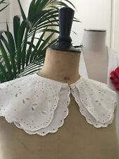 Grand col ancien Broderie Anglaise Coton Linge ancien Costume CJB/48