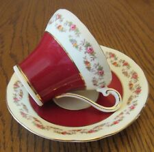 Aynsley Corset Red & White Floral Cup & Saucer - Floral Borders & Gold Edging