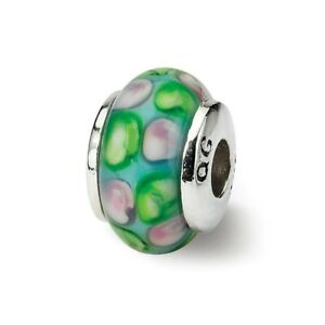 Blue Green Pink Hand Blown Glass Kids Bead .925 Sterling Silver Reflection Beads