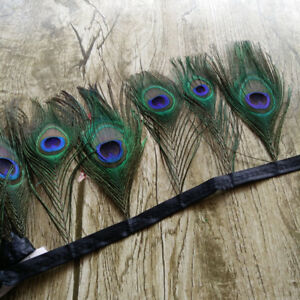 Beautiful 1-10 Yards 13-15 cm Peacock Feathers Ribbon For DIY Clothes Decoration