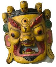 God Bhairav Hand crafted tibetian mask Wooden Painted
