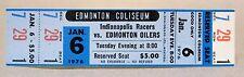 WHA 1976 INDIANAPOLIS RACERS at EDMONTON OILERS unused MINT hockey ticket