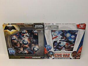 Lot of 2 Super 3D Dartboards ~ Superman vs Batman & Captain America Civil War