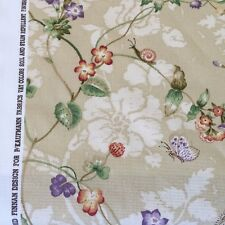P kaufmann floral butterfly snail yellow purple green tan fabric by the yard cot