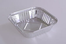 "100 x NEW SQUARE Aluminium Foil Tray 6"" X 6"" with LIDS Disposable dishes Baking"