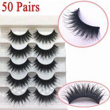 50Pairs 100% Real Mink 3D Volume Corner Thick False Eyelashes Strip Lashes HQ