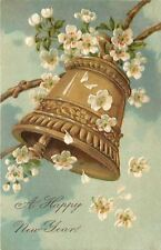 PFB New Year~Bronze Bell Swings From Branch~5 White Petal Blossoms~Emboss~Clouds