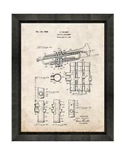 Trumpet Patent Print Old Look in a Beveled Black Wood Frame